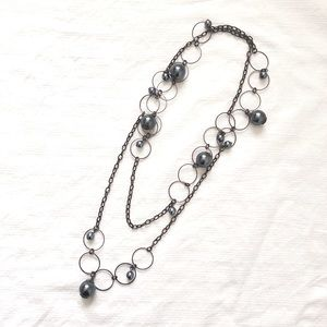 3/$25 Grey Long Faux Pearl Beaded Chain Necklace